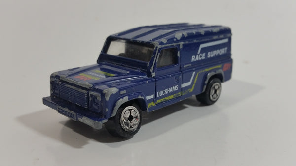 Vintage 1984 Corgi Land Rover Duckhams Race Support Dark Blue Die Cast Toy Car Vehicle
