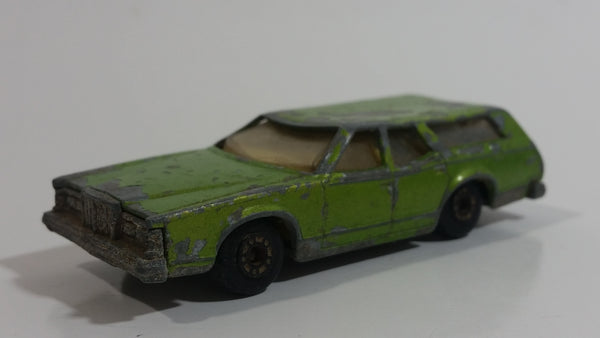 Vintage 1978 Lesney Matchbox Superfast No. 74 Cougar Villager Station Wagon Lime Green Die Cast Toy Car Vehicle with Opening Tail Gate
