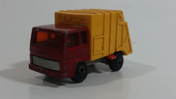 Vintage 1979 Lesney Matchbox Superfast Colectomatic Refuse Truck No. 36 Red Yellow Garbage Pickup Die Cast Toy Car Vehicle with Sliding Compactor