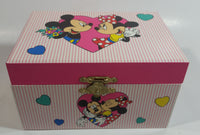 "Disney Mickey Mouse and Minnie Mouse Pink Felt Lined Wind Up Musical Keepsake Trinket Box Plays ""I Want To Be Loved By You"""