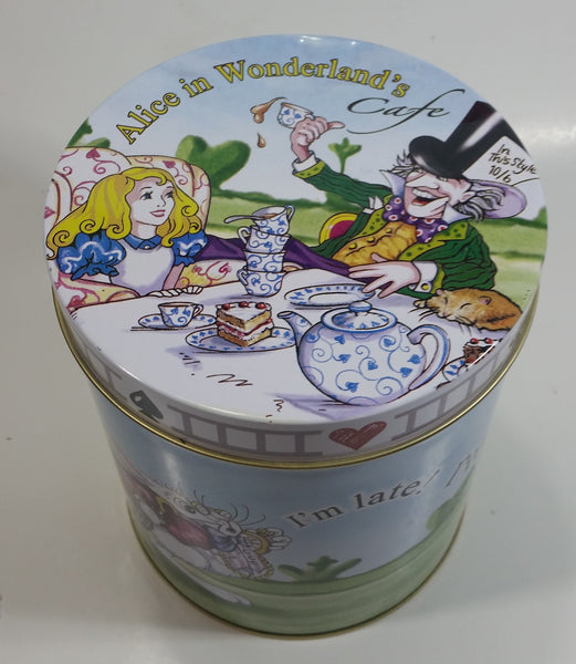 "2010 Cardew Design N.A. Inc. Disney Alice In Wonderland's Cafe Rabbit ""I'm Late! I'm Late!"" 6"" Tall Cylindrical Shaped Tin Metal Container"