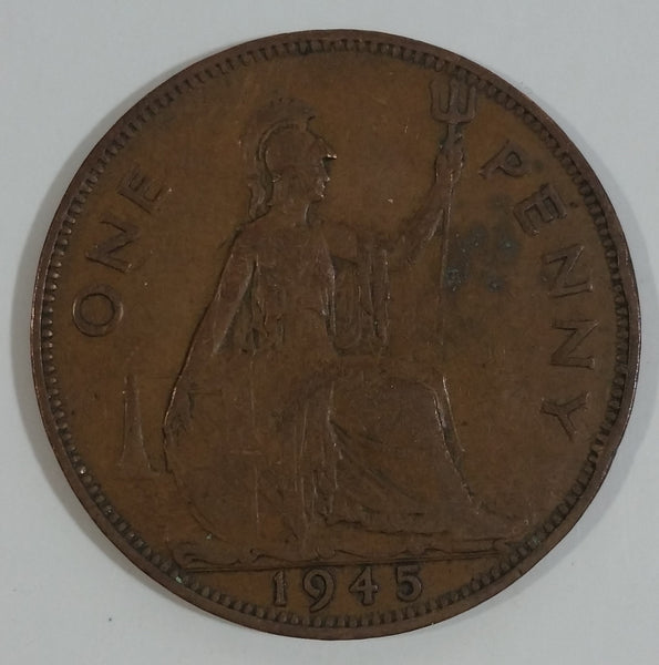 1945 Great Britain King George V One Penny Bronze Coin Currency