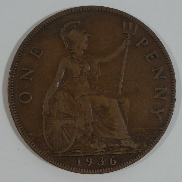 1936 Great Britain King George V One Penny Bronze Coin Currency