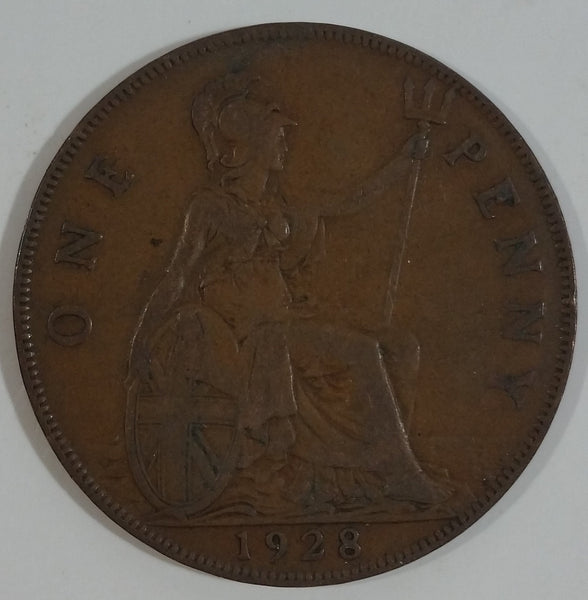 1928 Great Britain King George V One Penny Bronze Coin Currency