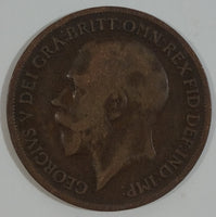 1917 Great Britain King George V One Penny Copper Coin Currency