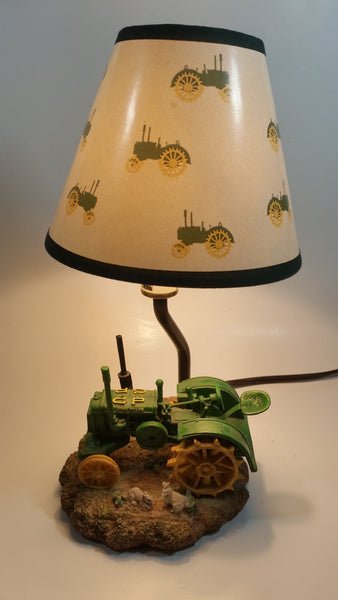"1999 John Deere Green Resin Tractor 12"" Tall Table Lamp Light"