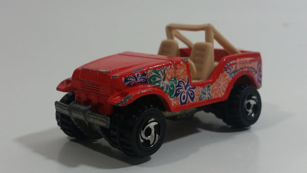 2000 Hot Wheels World Tour Roll Patrol Jeep CJ Trailbuster Red Die Cast Toy Car Vehicle