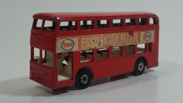 Vintage Lesney Matchbox Series No. 74 Daimler Bus Double Decker ESSO Extra Petrol Red Die Cast Toy Car Vehicle