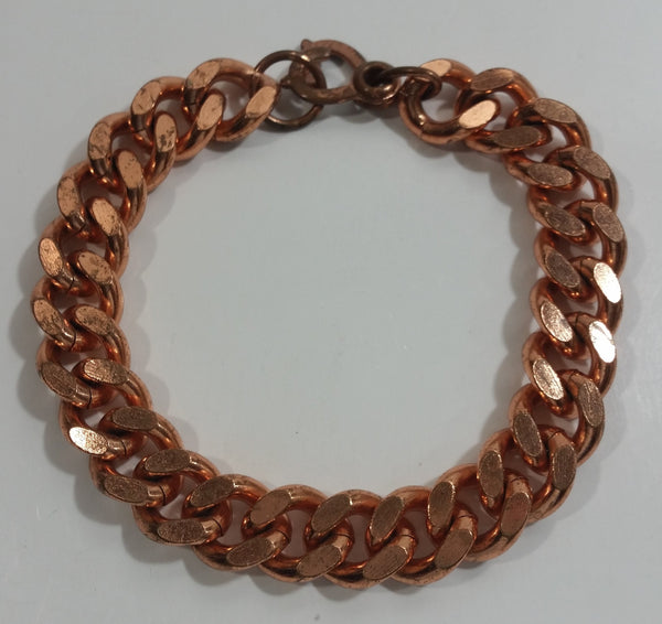 "Heavy Copper Chain Link 8 1/2"" Long Metal Bracelet"