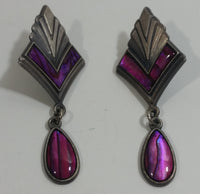 Vintage 1980s Signed Duri Pink and Purple Abalone Art Deco Style Dangle Earrings