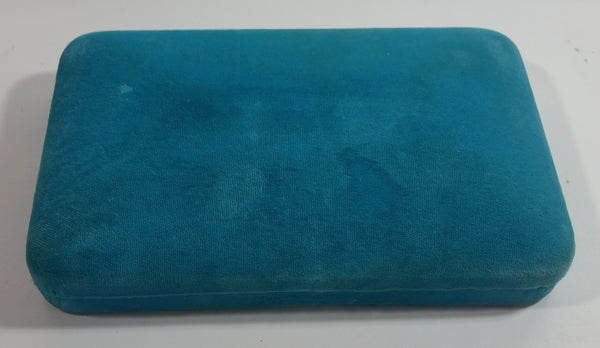 Vintage Bright Blue Felt Covered Cream White Lined Jewelry Dresser Box