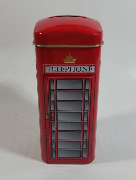 "New English Teas Brand 5 1/2"" Tall Telephone Booth Tin Metal Coin Bank"