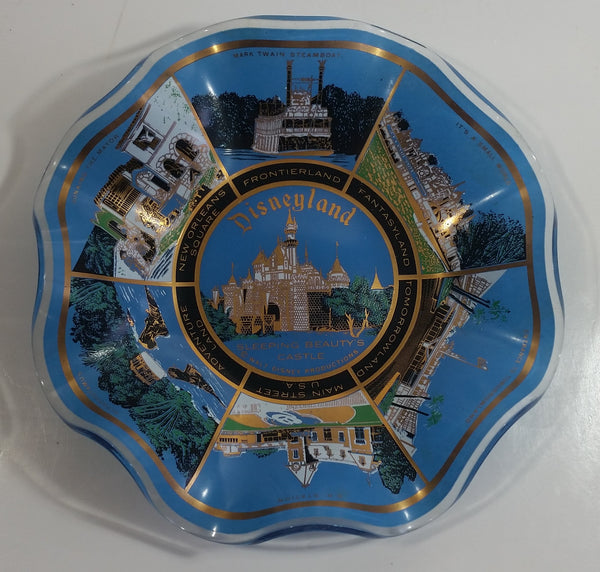 "Vintage Disneyland Exclusive Walt Disney Productions Sleeping Beauty's Castle 7 1/2"" Diameter Blue Waved Edge Glass Candy Dish / Ash Tray"