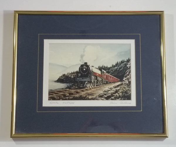 "Jim Collins ""Royal Hudson"" 2860 Train Locomotive 10 1/4"" x 12 1/4"" Framed Railroad Print"
