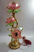 Vintage Pink Lotus Flowers 3 Tiered Hard Plastic Plant Style Table Lamp - Not Working