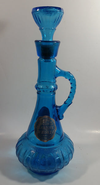 Vintage McGill Imported Candian Whiskey Blue Glass Bottle Decanter