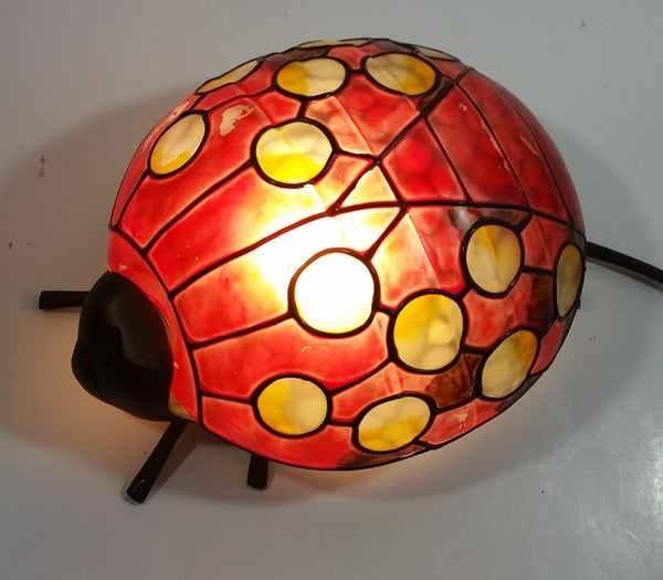 Red with Yellow Dots Painted Glass Bronze Finish Ladybug Ladybird Beetle Lamp Light