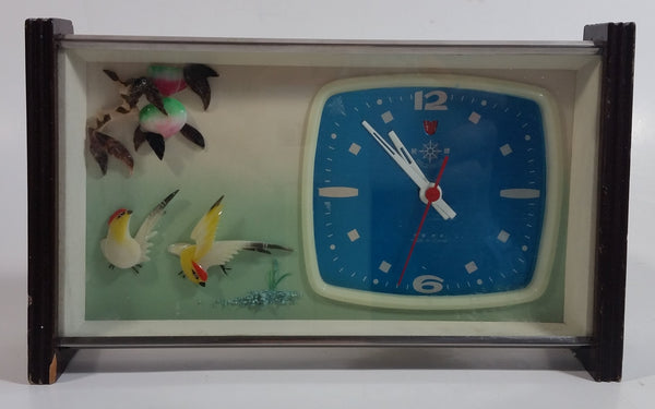 Retro 1960s Helm Brand Bird Themed Wind Up Alarm Clock in Brass and Wood