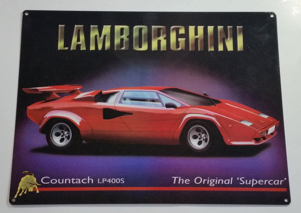 "Red Lamborghini Countach LP400S The Original 'Supercar' 11 3/4"" x 15 3/4"" Heavy Metal Sign"