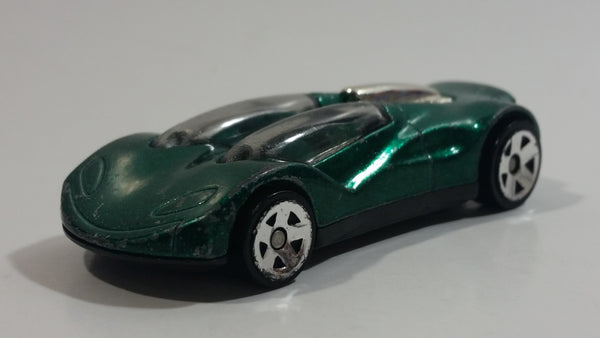 1999 Hot Wheels Double Cross Metalflake Dark Green Die Cast Toy Car Vehicle McDonald's Happy Meal 9/16