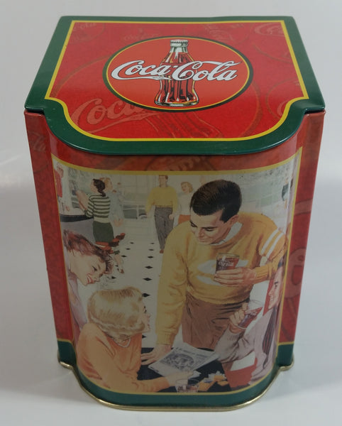 "2003 Coca-Cola Coke 50's Diner Themed 5 1/2"" Tall Tin Metal Hinged Lid Container"
