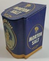 "Morton Salt 1941 Advertising When It Rains It Pours 5 1/2"" Tall Dark Blue Tin Metal Hinged Lid Container"