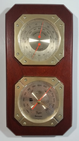 Vintage Taylor Wood Case Hygrometer and Barometer Weather Station Made in Japan