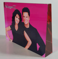 Rare Donny & Marie Osmond Hot Pink and Clear Lucite Resin Paperweight