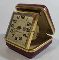 Vintage Westclox Time and Date Windup Travel Alarm Clock in Dark Red Case Made in Hong Kong