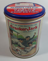 "Cracker Jacks Always on Top World's Famous Confections Baseball 8"" Tall Tin Metal Canister"