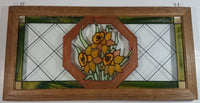 "Open Windows Salido, California Green Border Red Octagon around Orange Flowers Stained Glass Wood Framed Window 11"" x 22"""