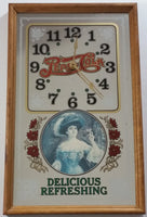 "Vintage Pepsi-Cola Delicious Refreshing Soda Pop Lady Wood Framed Glass Mirror Advertising Clock 13 1/4"" x 21 1/4"""