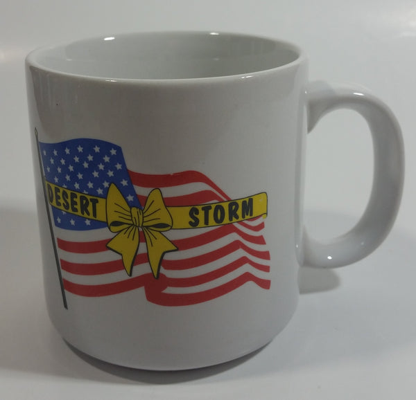 U.S. Army Military Operation Desert Storm Iraq Persian Gulf War Yellow Ribbon Waving Flag White Ceramic Coffee Mug Cup