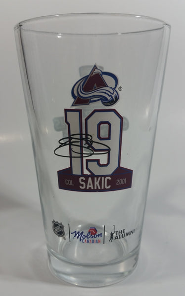 "NHL Molson Canadian The Alumni 2001 Colorado Avalanche Stanley Cup Champions #19 Joe Sakic 5 3/4"" Tall Glass Beer Cup"