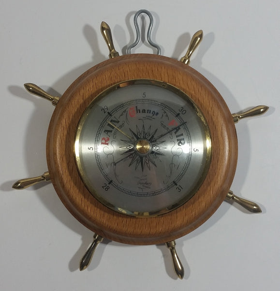 "Vintage Fischer 7"" Captain's Ships Wheel Wood Cased Barometer with Brass Handles"