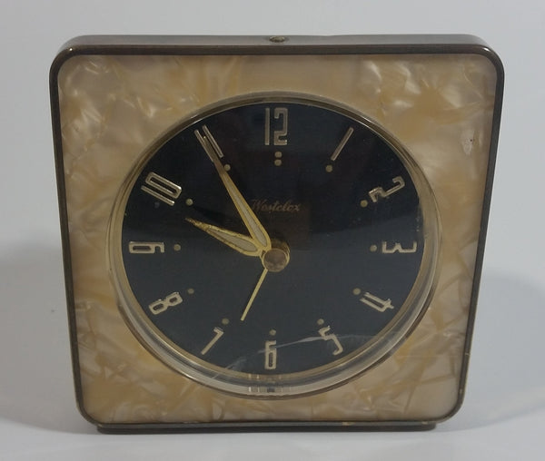 Vintage Westclox Mother of Pearl Bakelite Style Brass Framed Windup Bedside Travel Alarm Clock Made in Canada