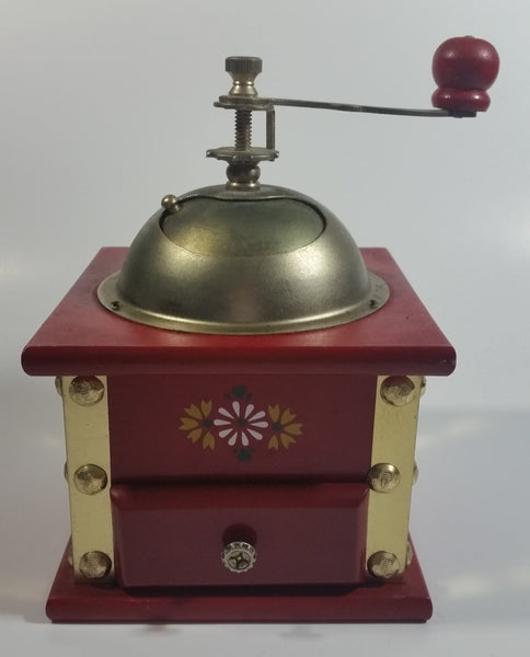 Red Hand Painted Flower Themed Brass and Wood Coffee Grinder Mill