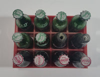 Vintage Enjoy Coca-Cola Coke Enjoy Sprite Different Languages 12 Miniature Glass Bottles in Red Plastic Holder