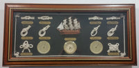 "Moby Dick Specialties Handcrafted Mayflower Ship Nautical Knots Temperature Humidity Weather Station Wood Cased Shadow Box Clock 11 1/4"" x 23 1/2"""