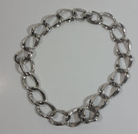 "Vintage Coro Choker Chain Link 16"" Long Silver Tone Metal Necklace Signed"
