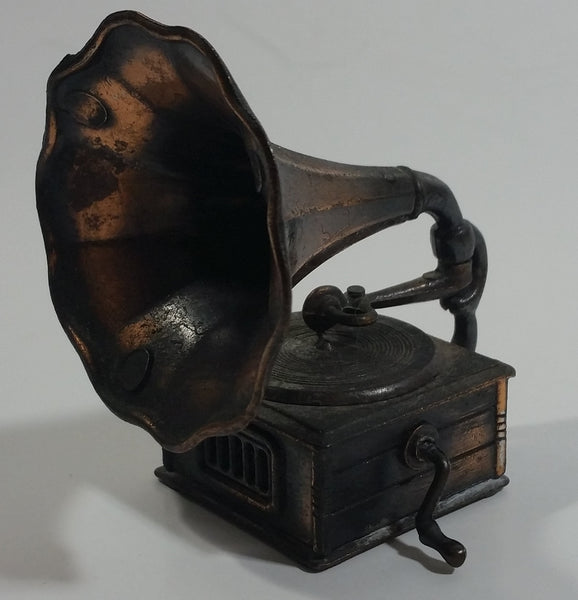 Vintage 1970s Durham Industries American Greetings No. 5402 Die Cast Metal Antique Phonograph Gramophone Music Player with Moving Parts