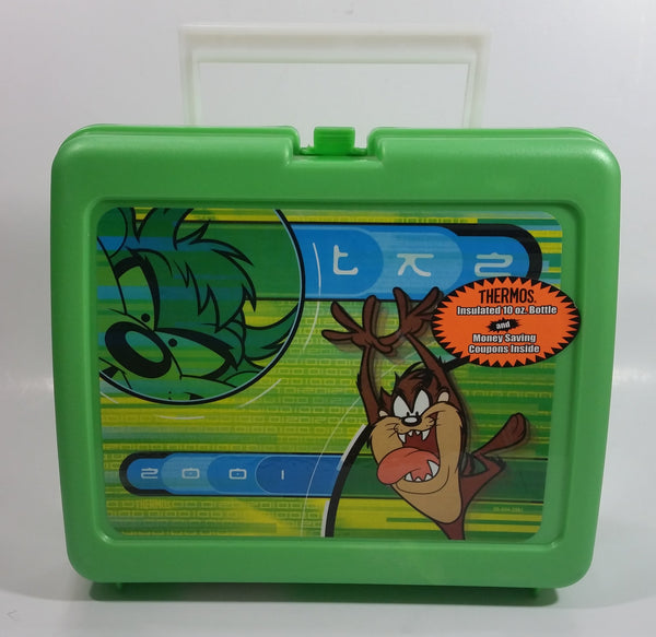 2001 Thermos Brand Warner Bros Looney Tunes Taz Tasmanian Devil Cartoon Character Bright Green Plastic Lunch Box with 10 oz. Thermos Bottle
