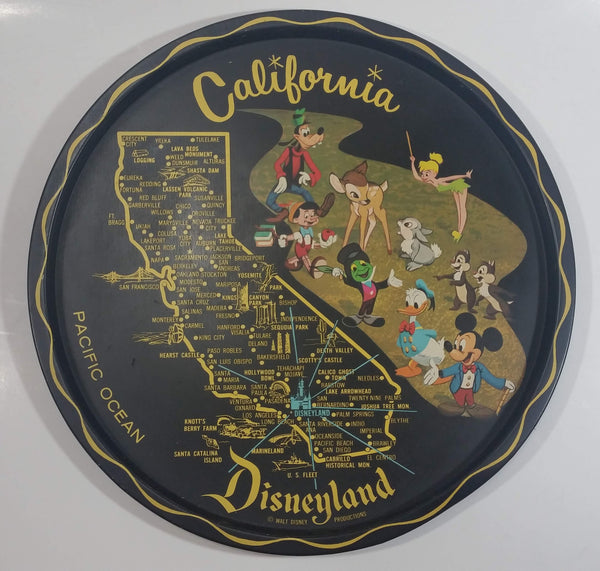 "Vintage Disneyland California State Landmarks and Cartoon Characters Black 11"" Diameter Round Tin Metal Serving Tray Souvenir"