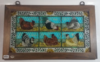 "Highly Detailed Joan Baker Designs Hens Chicken Coop Hand Painted Stained Glass Wood Framed Window 13"" x 22"""
