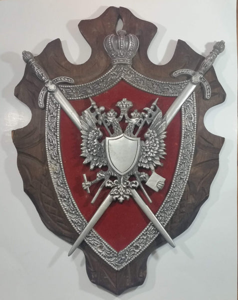 "Vintage Cast Metal On Red Velvet and Wood 19"" x 26"" Medieval Coat of Arms Shield with Sword Wall Decor Piece"