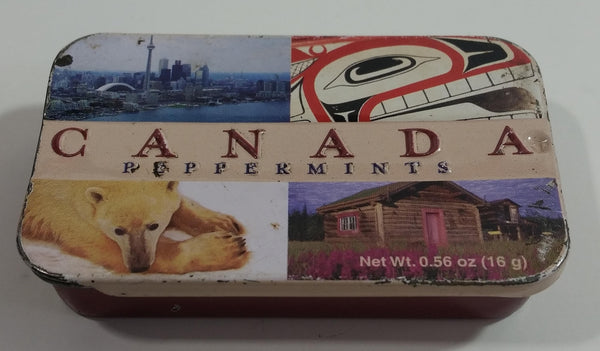 2003 Art CoCo Mint Company Canada Peppermints Pocket Size Tin Metal Container with Sliding Lid