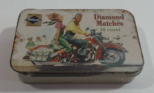 2004 Diamond Matches The Vintage Tin Collection Limited Series I Edition 40 Count Motorcycle with Man and Woman Pocket Size Tin Metal Container with Sliding Lid