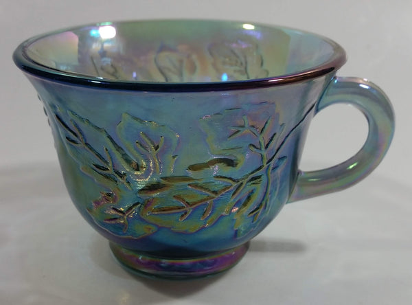 Vintage Indiana Carnival Glass Blue Harvest Leaf Pattern Blue Iridescent Rainbow Punch Bowl Cup