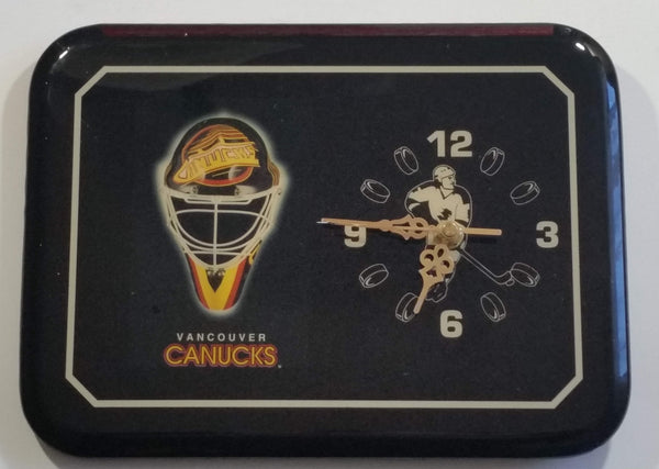 1980s Vancouver Canucks NHL Ice Hockey Team Black Lacquered Wooden Sports Clock Collectible