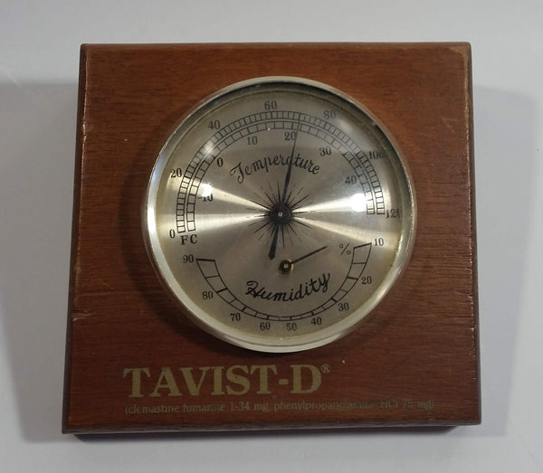 Vintage Tavist-D Wooden Cased Thermometer Temperature Humidity Gauge Medical Drug Salesman Promotional Item